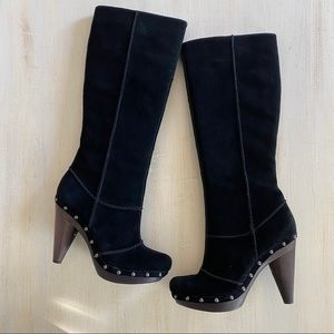 Seychelles black suede heeled knee high boots 8.5